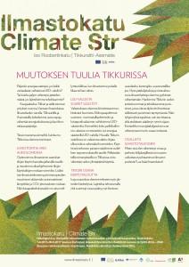 Tikkuri-lehdessä ilmestynyt artikkeli Tikkurin ilmastotyöstä ja Ilmastokadusta.